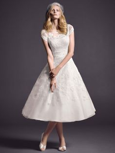 Classic Formal Hollywood Glam Modern Romantic Vintage Ivory White $ - $700 and under A-line Bateau Cap Sleeve Lace Natural Oleg Cassini at D...