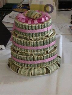 Money cake Great Idea, no baking, just roll the dollars.