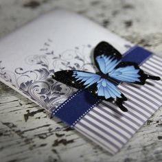 Blue Mountain Butterfly Wedding Invitation Suite. $8.00, via Etsy.