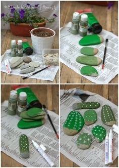 DIY Painted Rock Cactus Tutorials: Paint Rock Cactus, Faux Cactus in flower pot for garden or home decor with painting, no water, no maintenance.DIY fácil y decorativo: Cactus que no se marchitanYou will love to learn how to make a Painted Cactus Rock Crafts, Diy And Crafts, Crafts For Kids, Kids Diy, Decor Crafts, Painted Rock Cactus, Painted Rocks, Hand Painted, Painted Garden Rocks