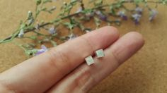 3.6 mm Square Cube Earrings  Sterling Silver by Happinesssilver