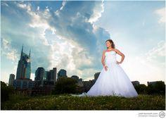 Pedistrian Bridge Bridal Photo Nashville.  Must check out Josh Bennett photography for wedding photos in Nashville - www.josh-bennett.com asap!