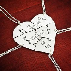Hand cut 5 piece Heart Puzzle necklace set in Argentium Sterling silver. I custom made this one for a group of 5 friends doing the Susan G Komen cancer walk to raise funds. Have any custom engraving on this, works for groups of friends, family, farewells, graduations, weddings etc. Available in sets of 3-6 pieces. Dog Jewelry, Animal Jewelry, Custom Jewelry, Unique Jewelry, Hand Engraving, Custom Engraving, Friends Family, Gifts For Friends, Cancer Walk