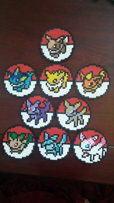 Eeveelution Coasters Perler by HiirosPixelArt on Etsy