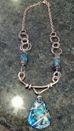 Copper wire necklace with Jasper stone pendent handcrafted by me!