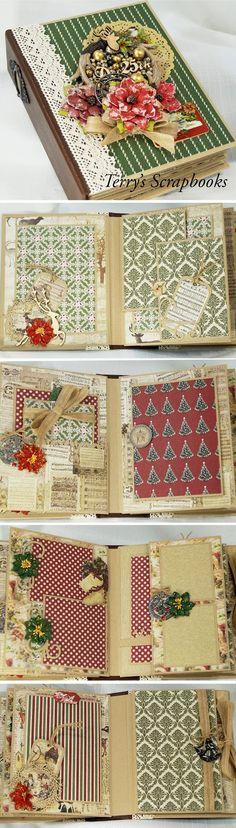 Fabscraps - Christmas joy,  mini scrapbook photo album by Terry's Scrapbooks