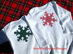 onesies # applique onesies Christmas 2012 @ Seacliffe Cottage Designs Dark Green Snowflake, Red Gingham Snowflake
