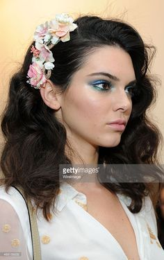 Kendall Jenner poses backstage during Diane Von Furstenberg Spring 2016 New York Fashion Week (Photo by Desiree Navarro) | #makeup #eyeshadow #retro #beauty