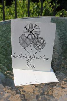 ZIA, Originally Hand Drawn,Black Ink, Blank Birthday Card.   SimplyCathy (c) 2014 All Rights Reversed