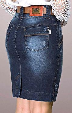 3891-Saia Jeans com detalhe em couro- Row-an