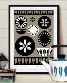 "Dishes Cathrineholm ""Lotus"", Mid century poster print, Retro kitchen Art."