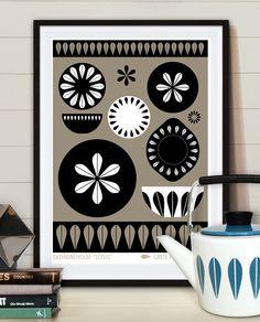 "Dishes Cathrineholm ""Lotus"", Mid century poster print, Retro kitchen Art."