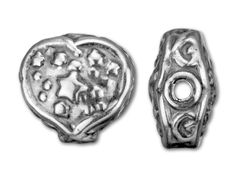 Lightweight Antique Sterling Silver 13x13.35mm Heart and Stars Bead