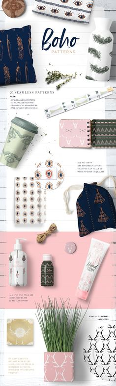 Boho Patterns Collection by Youandigraphics on @creativemarket