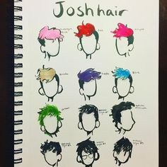 """n a t a l i e on Instagram: """"Inktober day 24: one dozen • • • What's your favorite hairstyle for Josh? Mines either the blue his natural mowhawk, or his current hair…"""""""
