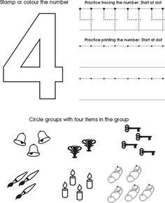 Number Four Worksheet   Free Preschool Printable