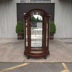 Antique and Vintage Furniture For Sale - R J Horner Victorian Tiger Oak Crystal Cabinet