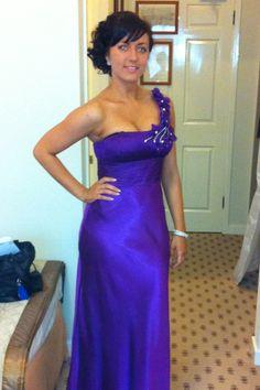 Brides maid dress. Purple. Vintage glam detail one shoulder. Long little train. Rhain