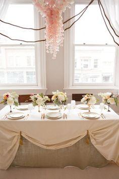 Romantic, head table reception decorating idea.