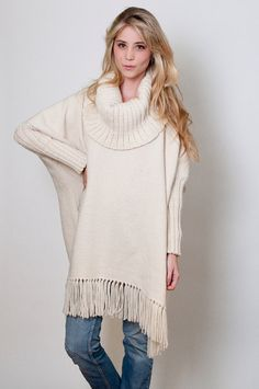 Ecru Poncho handwoven Plus size wool cape coat by texturable