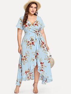 Shop Plus Asymmetric Ruffle Hem Botanical Wrap Dress online. SheIn offers Plus Asymmetric Ruffle Hem Botanical Wrap Dress & more to fit your fashionable needs. Half Sleeve Dresses, Plus Size Maxi Dresses, Plus Size Outfits, Blue Dresses, Dresses With Sleeves, Short Sleeves, Plus Size Fashion Dresses, Big Size Dress, Ruffle Sleeve Dress