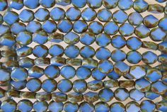 9x8mm Opaque Blue Picasso Edged Table Cut Czech Glass Oval Beads - Qty 20 (BS183) by beadsandbabble on Etsy
