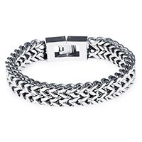 Men Bracelet Stainless Steel & wheat chain & for man original color 12mm Sold Per Approx 8 Inch Strand