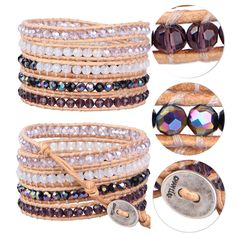 Hand Woven Crystal Beads on Leather 5 Wrap Bracelet Fashion Women's Jewelry #Unbranded #Beaded