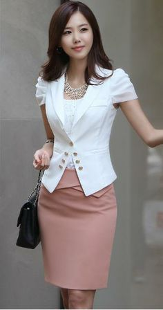 white blazer, statement necklace blush or dusty pink pencil skirt from…