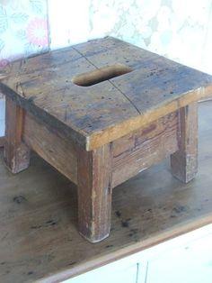 wooden stool. 11 L  10 W  7.5 H. (sturdy.)