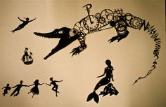 Shadow puppets for a steam-punk themed adaption of Peter Pan at the Harlequin Theatre, Northwich