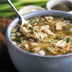 White Bean Chicken Chili Recipe Main Dishes with great northern beans, boneless skinless chicken breasts, salsa, shredded Monterey Jack cheese, cheese