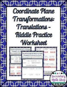 Transformations: Coordinate Plane Rotations Riddle Practice ...
