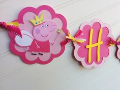 Peppa Pig Inspirded banner Girls Birthday banner by SweetBugABoo