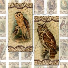 Old World Owls  Instant Download Digital Collage by calicocollage, $4.15