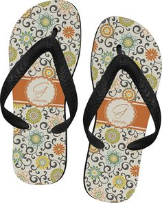 Swirls and Floral Flip Flops >>> You can get more details by clicking on the image.