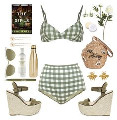 """The Girls"" by barngirl ❤ liked on Polyvore featuring Crate and Barrel, Kate Spade, Solid & Striped, Steve Madden, Gucci, Stila, Kiehl's, Modern Minerals, Sharon Khazzam and Accessorize"