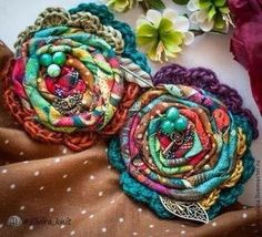 Fabric and Crochet Flower Textile Jewelry, Fabric Jewelry, Textile Art, Jewellery, Fabric Beads, Fabric Art, Fabric Scraps, Fabric Dolls, Fabric Flower Brooch