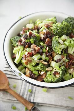Paula Deen Almond Broccoli Salad - easy and always a hit, can sub craisins for raisins