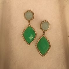 ☀️SALE☀️ beautiful Francesca's earrings. Turquoise with crystals, they look amazing in the spring time! Francesca's Collections Jewelry Earrings