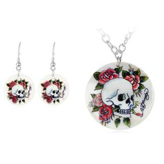 $14.99 - Ed Hardy Skulls 'n Roses Pendant and Earring Set in Mother of Pearl