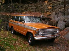 Two of my fav things....the grooviest car ever & my fav color❤️❤️1973 Wagoneer