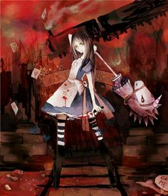 My new character her name is Adriel Alice Liddell, Alice Madness Returns, Alice Sweet Alice, Dear Alice, Creepy Games, Goth Art, Adventures In Wonderland, Game Character, Fantasy Art