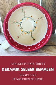 Abklebetechnik trifft Pünktchentechnik & Pinsel Painted Ceramics, Ceramic Painting, Brushes, Painted Pottery