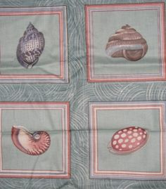 Fabrics 1980's Sea Shell Nautical Fabric Cotton by TheIDconnection, $18.00