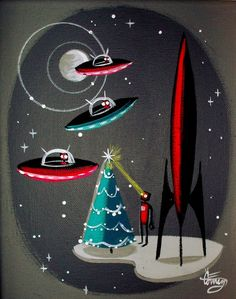 EL GATO GOMEZ PAINTING RETRO MID CENTURY SPACE SHIP ROCKET ROBOT 1950S CHRISTMAS in Paintings | eBay