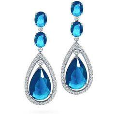 Aquamarine Color CZ Silver Oval Double Teardrop Chandelier Earrings in Blue Drop Earrings, Aquamarine Earrings, Teardrop Earrings, Bride Earrings, Women's Earrings, Wedding Earrings, Bling Jewelry, Bridal Jewelry, Jewellery