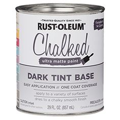 Rust-Oleum® Chalked Ultra Matte Paint creates an ultra matte finish with superior adhesion and coverage. It rejuvenates furniture and home décor with timeless elegance. It can be painted or distressed, giving any project a one of a kind look with a vintage feel. Tint bases can be tinted up to 25 colors.