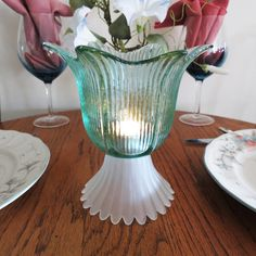 Candle Light, Table Lighting, Spanish Recycled Green Glass Votive, Tulip Flower with Frost Glass Base, Tealight