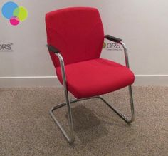 Pledge Red Meeting Chair Net Price Pledge product Chrome cantilever frame Black armrests Padded seat and back upholstered with belize red fabric Buy Used Furniture, Office Furniture, Used Chairs, Red Fabric, Belize, Chrome, Stuff To Buy, Black, Home Decor